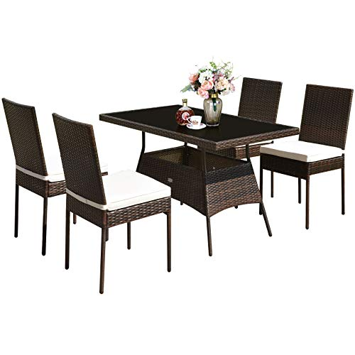 Tangkula 5 PCS Patio Wicker Dining Set, Outdoor Rattan Table and Chairs with w/Tempered Glass Table Top & Padded Cushions, Wicker Patio Conversation Furniture Set for Balcony Patio Garden Poolside