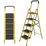 Escalera de hierro de 5 peldaños, antideslizante, con manija de seguridad, 8.5 cm de ancho después del plegado, ideal para el hogar/cocina/garaje/ático