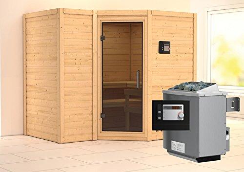 Karibu Sauna Sahib 2 inkl. 9-kW-Ofen mit externer Steuerung, ohne Dachkranz, mit moderne Saunatür