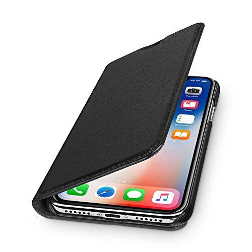 WIIUKA Echt Ledertasche - TRAVEL - für Apple iPhone X & XS mit Kartenfach, kabelloses Laden Qi, extra Dünn, Tasche Schwarz, Leder Hülle kompatibel mit iPhone X/XS