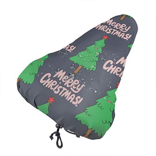 Sillín de bicicleta no aplicable con diseño de animales de dibujos animados extra suave – Cojín para sillín de bicicleta con cubierta resistente al agua y al polvo, Árbol de Navidad de dibujos animados, talla única
