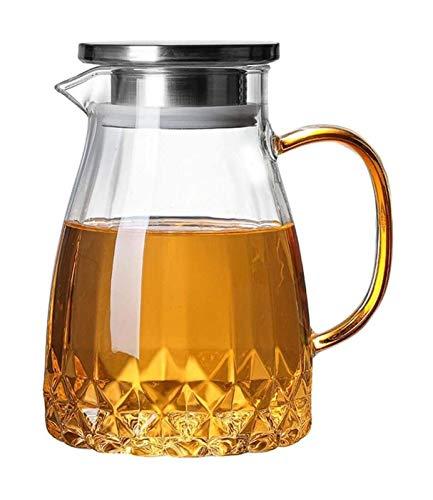 Tetera de vidrio jarra de té con tapa para el hogar jarra de agua de vidrio para té frío caliente