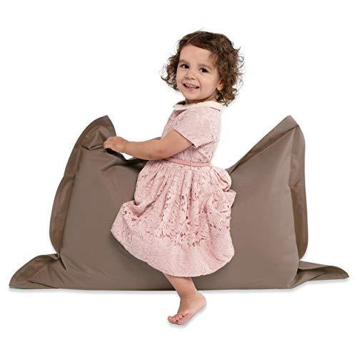 Green Bean © BeBi Mini Sitzsack 100x70 cm - 70 Liter EPS Perlen Füllung - PVC Bezug - Indoor & Outdoor Beanbag für Kinder - Sitzkissen Bean Bag Bodenkissen - Kindersitzsack Stuhl - Braun