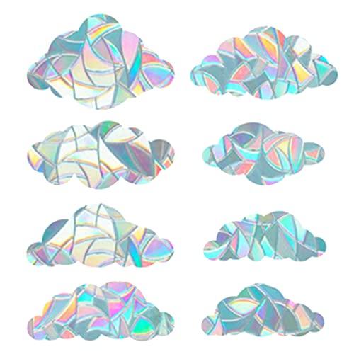 GORGECRAFT 8 Pz Arcobaleno Finestra Si Aggrappa 3D Pellicola Decorativa Finestra Forma di Nuvola Anti-Collisione Finestra Adesivi Porta Finestra Aderenza Statica per Cucina Sala da Pranzo Camera