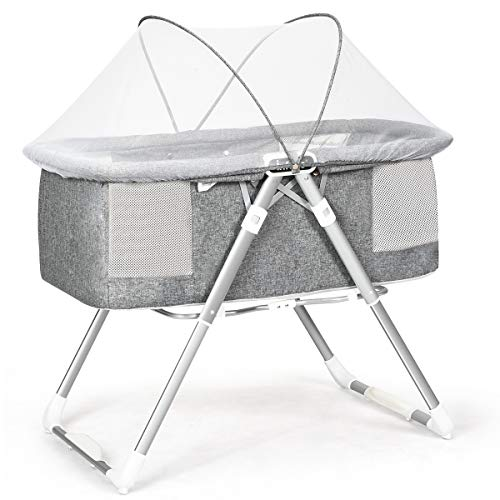 INFANS 2 in 1 Rocking Bassinet for Newborn Baby, One-Second Fold Travel Crib with Detachable & Thicken Mattress, Height Adjustable Legs, Mosquito Net, Cradle with Rock Mode & Stationary (Light Grey)