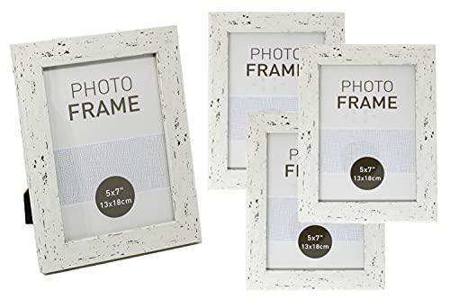 Selldorado® Juego de 4 marcos de fotos de madera de 13 x 18 cm, color blanco, con soporte, estilo vintage (5. 13 x 18 cm), color blanco