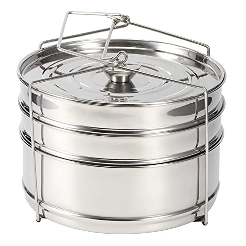 Stainless Steel Stackable Steamer, 3 Tier Steamer Inserts,Compatible with Instant Pot, Pressure Cooker Accessories, Pot in Pot, Baking, Casseroles, Lasagna Pans