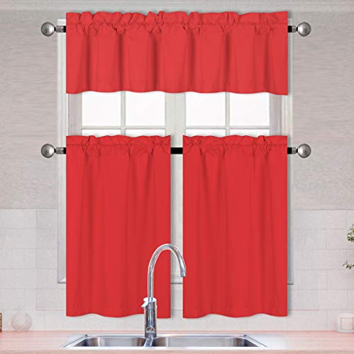 Better Home Style 3 Piece Solid Color 100% Blackout Kitchen Window Curtain Set with Tiers and Valance Solid Energy Efficient Thermal Room Darkening Drape Window Treatment # MKC (Red)