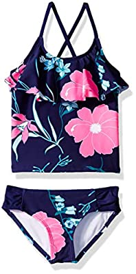 Kanu Surf Big Girls' Charlotte Flounce Tankini Beach Sport 2-Piece Swimsuit, Paige Navy Floral, 12