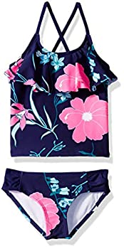 Kanu Surf Girls  Big Charlotte Flounce Tankini Beach Sport 2-Piece Swimsuit Paige Navy Floral 12