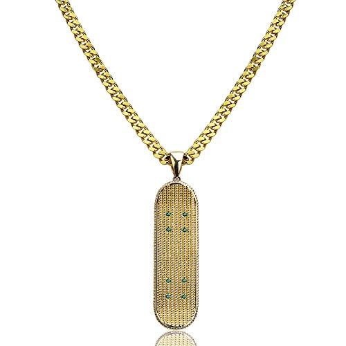 Moca Schmuck Iced Out Skateboard Anhänger Halskette 18 Karat Vergoldet Bling CZ Simulierte Diamant Hip Hop Rapper Kette Halskette für Männer Frauen (gold)