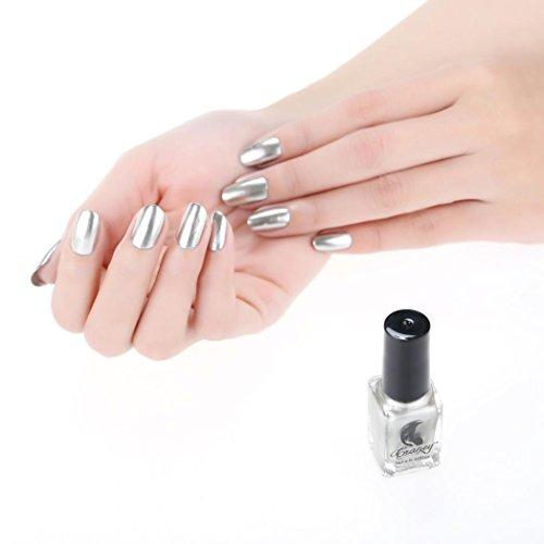 IGEMY Spiegeleffekt Nagellack, Überzug Silber Farbedelstahl Spiegel Silber Nagellack für Nagel Kunst (C)