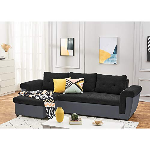 Sectional Sleeper Sofa Couch with Pull Out Bed with Footstool, L Shaped Modern Sectional Sofa Bed with Chaise Lounge and Storage Function for Living Room (Black Linen Fabric + Gray Faux Leather)