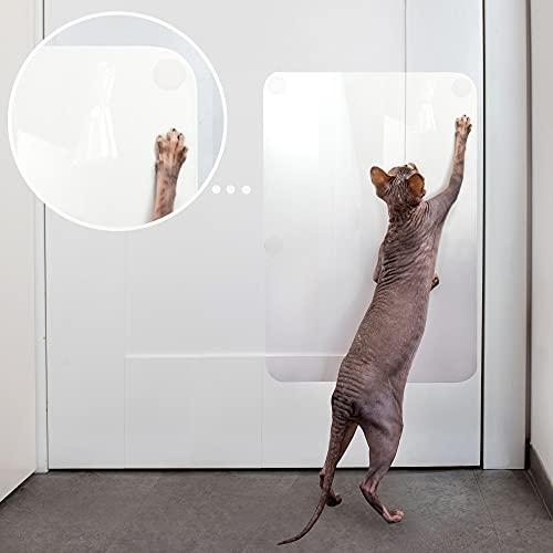 PROTECTO Kratzschutz für Türen – Hund & Katze Kratzschutz – 45 x 35 cm strapazierfähige Abdeckung, die Tiere daran hindert an Möbeln zu kratzen – Robust & Durchsichtig