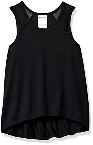 Soffe Girls' Big Skinny Muscle Up Tee, Black, Medium