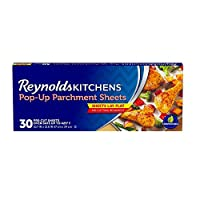 This package contains 30 Reynolds Kitchens Pop-Up Parchment Paper Sheets, each measuring 10.7 x 13.6 inches Pop-up dispensing makes these precut nonstick parchment paper sheets easy to grab for quick, single-handed access Parchment paper sheets for b...