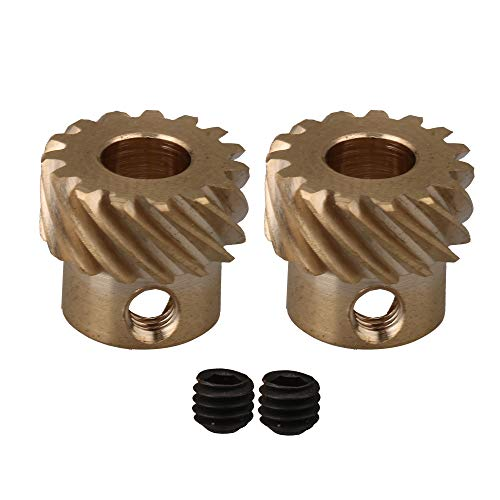 Yibuy 2Pieces Left Hand Helical Gears 5mm Bore Dia 15 Teeth 0.5M H59 Brass