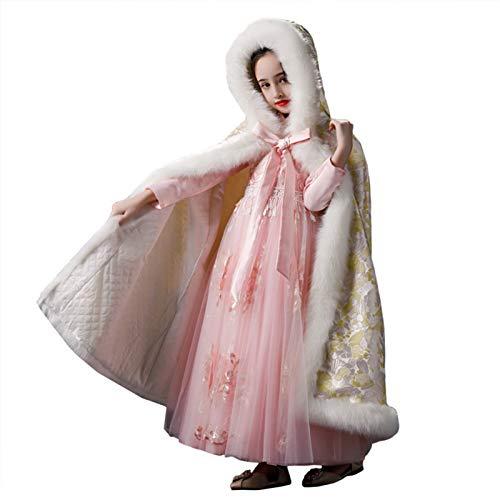 Cape con capucha de la princesa de Kigirls Capa para niños Capa de otoño e invierno Out Plus Velvet Threper Cape Traje Traje Capa larga capa Disfraz de cumpleaños ( Color : Yellow , Size : 160cm )