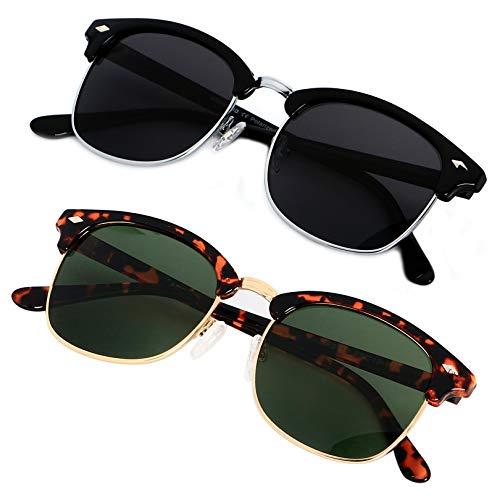 Polarized Sunglasses for Men Women Classic Half Frame Semi Rimless ANDWOOD Polarized Uv Protection