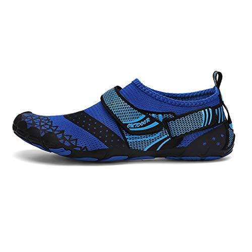 WXYPP Verano al Aire Libre cómodo Malla Zapatos de balanceo Transpirable de Hombre Secado rápido Calzado Antideslizante Sandalias de Playa Mujeres Calcetines De Agua (Color : Blue, Size : 42 EU)