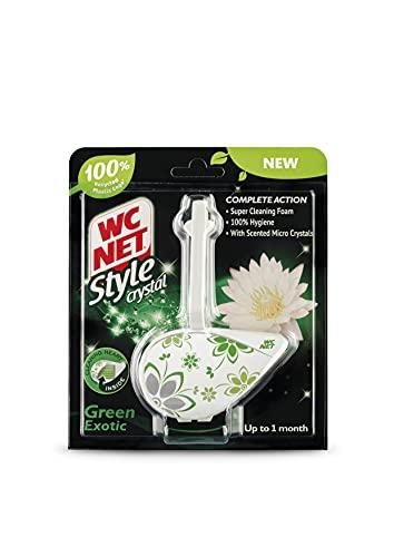 WC Net - Style Crystal, Colgador WC Perfuma y Desinfecta, Aroma Green Exotic, 1 Pastilla