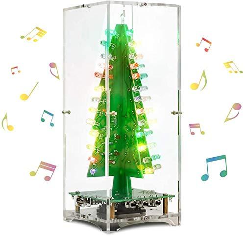 DONGKER 3D Weihnachtsbaum Spieluhr DIY Lötpraxis Projekt Elektronische Wissenschaft Kit Mit 3 Watt Lautsprecher 7 Farben Blinkende LED
