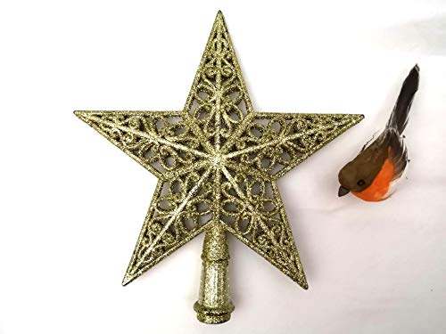 Tree Topper Christmas Star Gold Colour Comes with a Free Matching Robin Bird Decorations