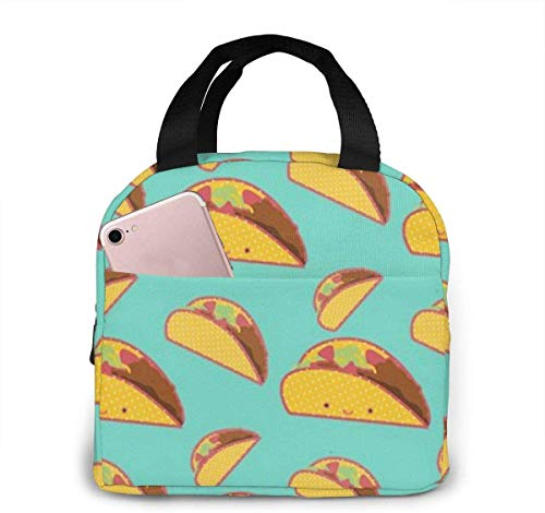 Mexician Tacos Kawaii Lunch Bag Reutilizable Lunch Tote Travel Picnic Drawstring Bento Cooler Bag, bolsillo frontal