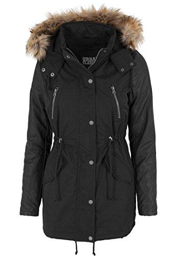 Urban Classics Damen Jacke Jacke Leather Imitation Sleeve Parka schwarz (Schwarz) Large