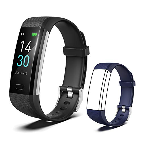 [2020 New Version] Fitness Tracker, Activity Tracker Watch with Heart Rate Monitor, Message Notification,IP68 Waterproof Calorie Counter, Pedometer Watch with Connected GPS For Android & IPhone(black)