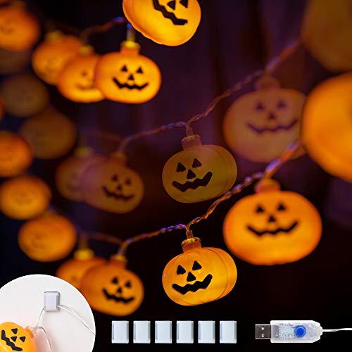 KPCB Halloween Deko Lichterkette Halloween Kürbis Lichterkette 5,4M 40 LED Kürbis Lichterkette Laternen Kürbis Lichter für Halloween Dekorationen Accessoires Halloween Schnur Lichter