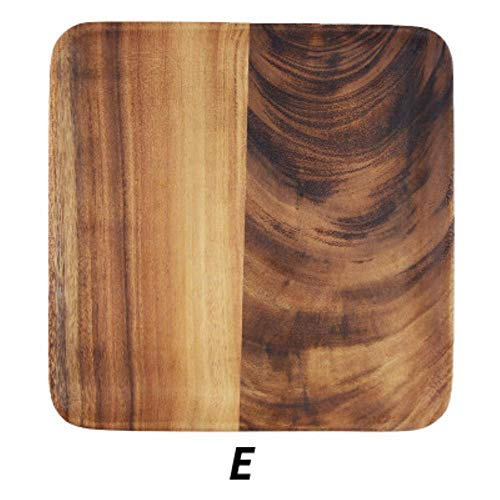 Japanse acacia massief houten dienblad eettafel plak koffie theeblad fruit brood voedsel dessert ontbijtbord vierkante rechthoek servies, e 25x25 cm