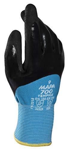 MAPA Professional TempIce 700 – Gants de protection contre le froid extrême en nitrile, protection contre le froid -10°C, utilisés dans les autorités locales/logistique, noir/bleu, taille 8, (1 paire)