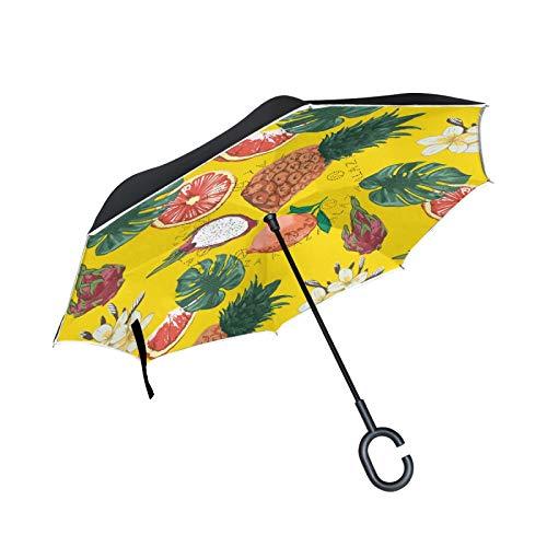 Arte Piña Fruta Palma Paraguas Invertido Doble Capa Inverso Reverso con Mango en Forma de C Paraguas de Plegado para Automóviles en Exteriores