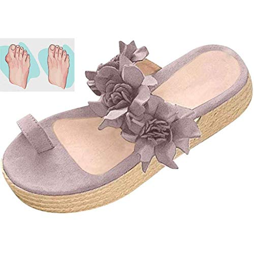 QLIGHA Sandalias de mujer informales en plataforma, con diseño floral, para verano, color gris, 43