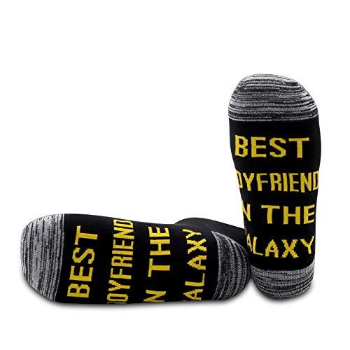 PYOUL 1 par de calcetines de regalo para novio con el mejor novio, regalo de Navidad, mejor novio en la galaxia