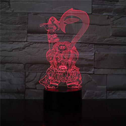 Moive Figure Moana Maui Decorativo Kids n Bedroom Decor Migliore lampada da notte 3D cool Luce notturna USB Luce notturna a LED