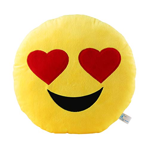 Heart eyes Pillow 12.5 Inch Large Yellow Smiley Emoticon