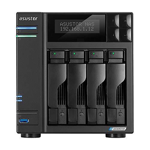 Asustor Lockerstor 4 AS6604T 4 Bay NAS - Caja de almacenamiento en red, CPU Quad Core 2.0 GHz, 4 GB de RAM DDR4, M.2 NVMe SSD caché