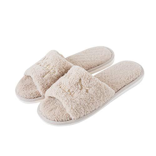 WXMTXLM Hogar invierno zapatillas de algodón fregona dedo del pie expuesto pareja...