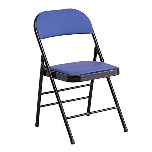 QIDI Tabouret Pliant, Chaise Pliante, Chaise de Bureau, Chaise d'ordinateur, Chaise de conférence, Cuir, Bureau Facile à Transporter - 43 * 46 * 79cm - Noir/Bleu (Couleur : Bleu)