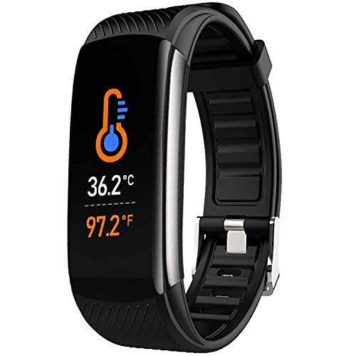 Fitness Tracker, IP67 Waterproof Sports bracelet, Smart Bracelet with Temperature detection, Sleep Monitor, Heart rate and blood oxygen, Calorie Activity Tracker, For Women Men iOS Android (white)
