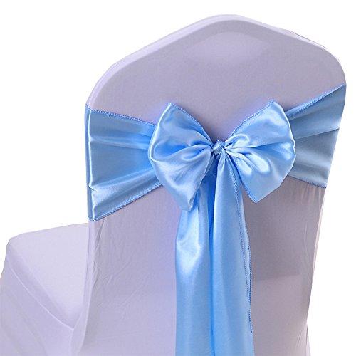 iEventStar Satin Sash Chair Bow Cover Wedding Banquet Party Decoration (10, Light Blue)