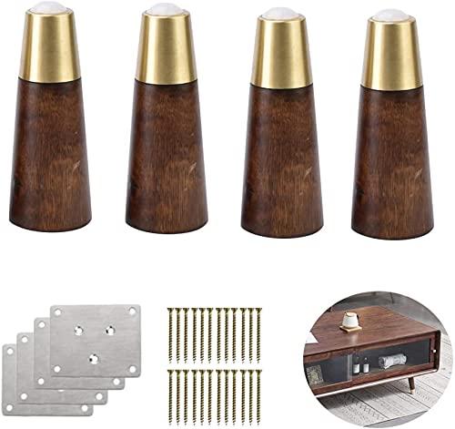 FTYYSWL 4 patas de muebles de madera maciza, patas de mesa de café de repuesto, patas de sofá de madera, patas cónicas de gabinete para silla de sofá