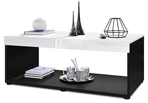 Mesa de Centro para sofá y Sala de Estar Pure con 2 estantes de Almacenamiento Grandes, Cuerpo en Negro Mate/Tablero de la Mesa y Paneles en Blanco de Alto Brillo   Gran selección de Colores