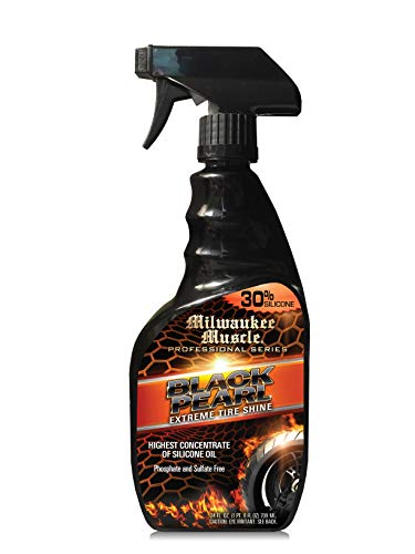 Milwaukee Muscle - Tire Shine Silicone Spray Black Pearl - 24 Fl Oz - The Best Tire Shine Spray for Car Care - Silicone Based Enhanced Gloss and Water Resistant Tire Detailing Spray