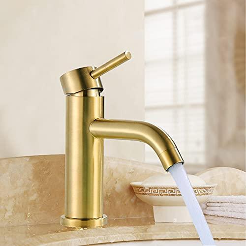 Saeuwtowy Grifo monomando para baño, tubo de latón, grifo para fregadero de agua fría y caliente, dorado cepillado