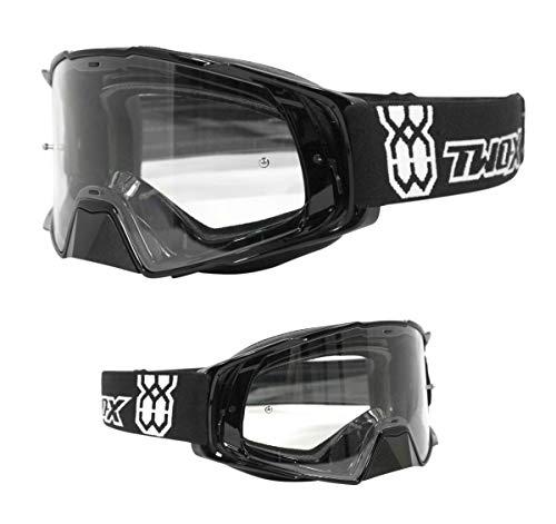 TWO-X Rocket Crossbrille schwarz klar MX Brille Motocross Enduro Klarglas Motorradbrille Schutzbrille mit Nasenschutz Anti Scratch Fast Change