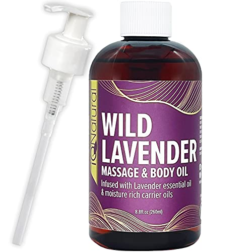 IQ NATURAL Lavender Massage Oil Infused with Real Lavender Essential Oil , Relaxing Blend of Almond & Grapeseed Oils for Massage - for Massage Therapy & Aromatherapy - 8.8 fl oz
