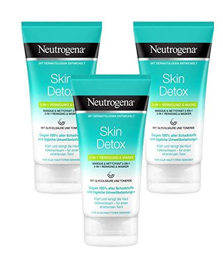 Neutrogena Skin Detox 2-in-1 Reinigung und Maske, Reinigung und Gesichtsmaske mit Glycolsäure und Tonerde (3 x 150 ml)